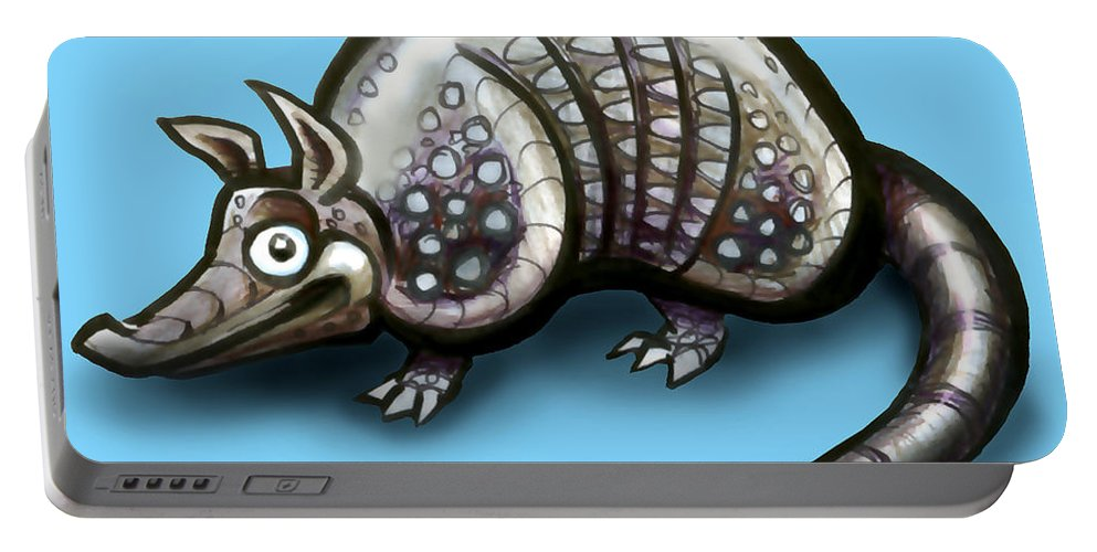 Armadillo Portable Battery Charger featuring the greeting card Armadillo by Kevin Middleton