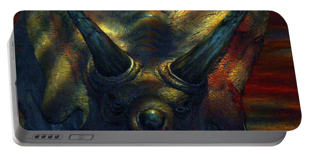Dinosaur Armour Triceratops Extinct Dinosaurs Herbivorous Cretaceous Period Portable Battery Charger featuring the photograph Armour Plated by Andrea Lawrence
