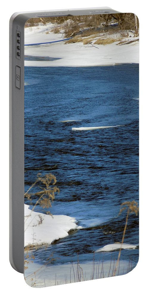 River Portable Battery Charger featuring the photograph Aroostook River Below The Dam by William Tasker