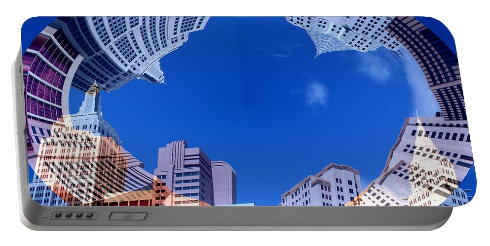 New York City Sky Line Las Vegas Sky Scrapers Clouds Buildings Portable Battery Charger featuring the photograph Around New York by Andrea Lawrence
