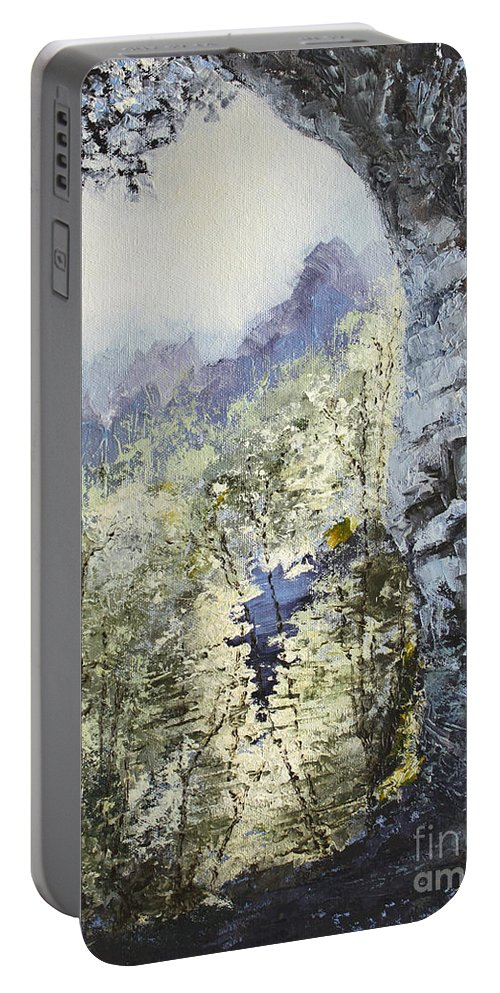 Landscape Portable Battery Charger featuring the painting Around The Bend by Todd Blanchard