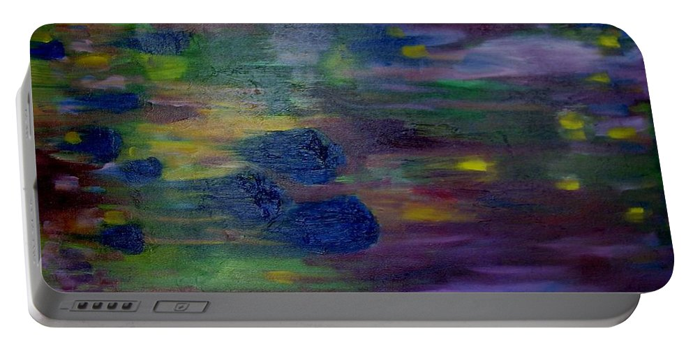 Abstract Portable Battery Charger featuring the painting Around The Worlds by Laurie Morgan