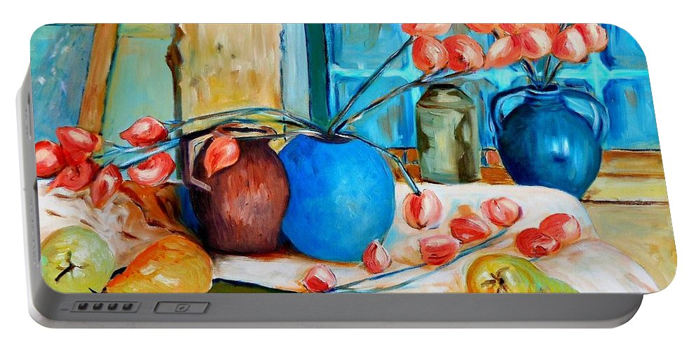 Still Life Portable Battery Charger featuring the painting Arranging The Flowers by Caroline Street