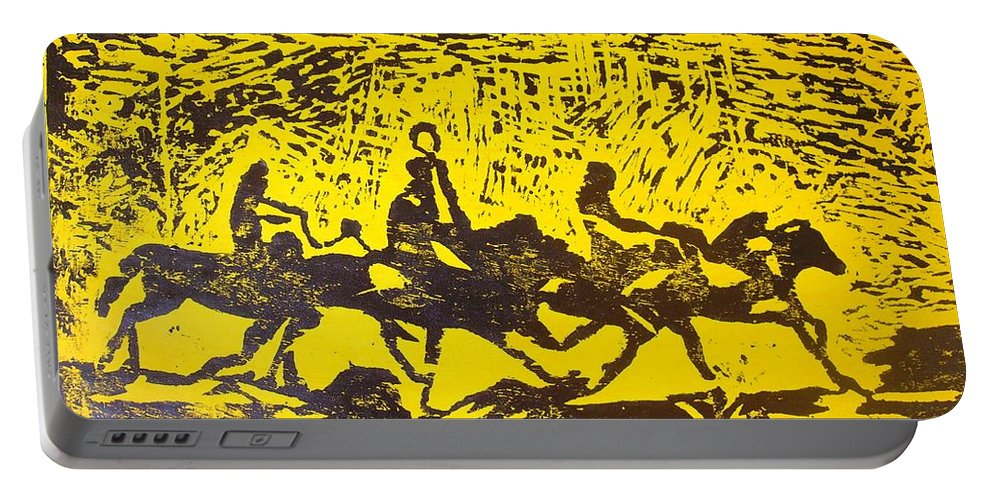 Arrival Portable Battery Charger featuring the mixed media Arrival by Olaoluwa Smith