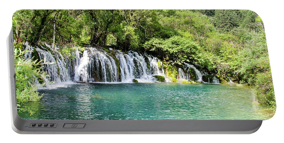 Arrow Portable Battery Charger featuring the photograph Arrow Bamboo Waterfall by Paul Martin