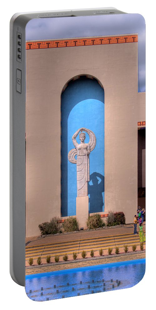 Arch Portable Battery Charger featuring the photograph Art Deco Of Texas State Fairgrounds by David and Carol Kelly