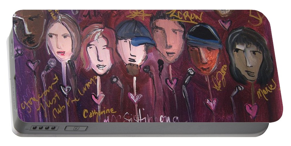 Laurie Maves Art Portable Battery Charger featuring the painting Art From Ashes 2010 by Laurie Maves ART