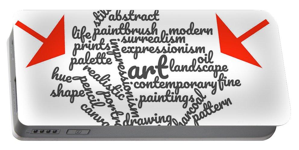 Art Portable Battery Charger featuring the digital art Art Word Cloud 1 by Karen Francis