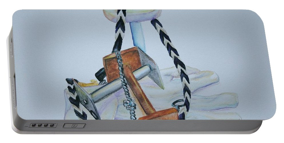 Dumbbells Portable Battery Charger featuring the painting Article Pile by Susan Herber