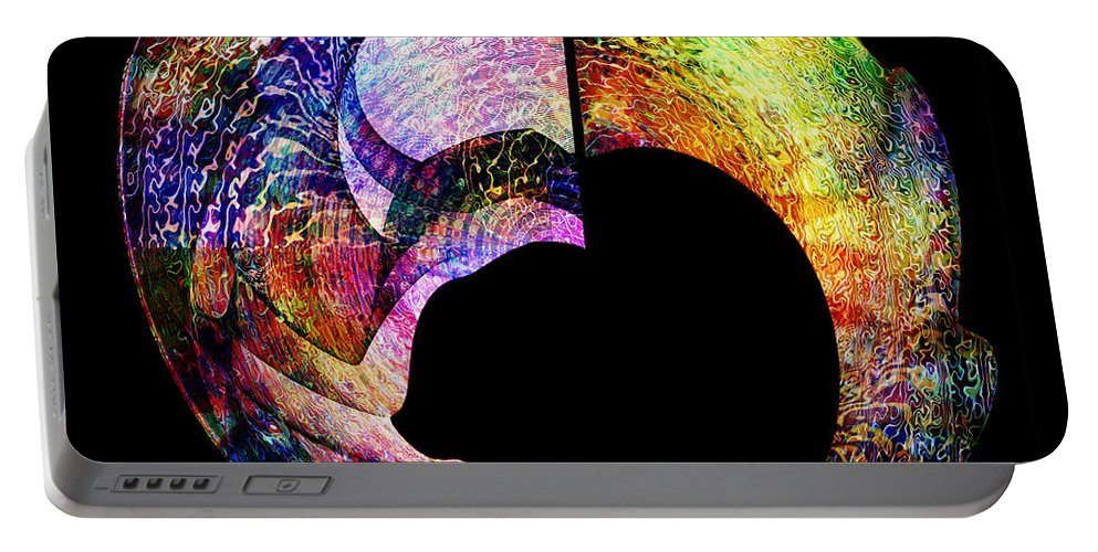 Colorful Portable Battery Charger featuring the digital art Artifact by Barbara Berney