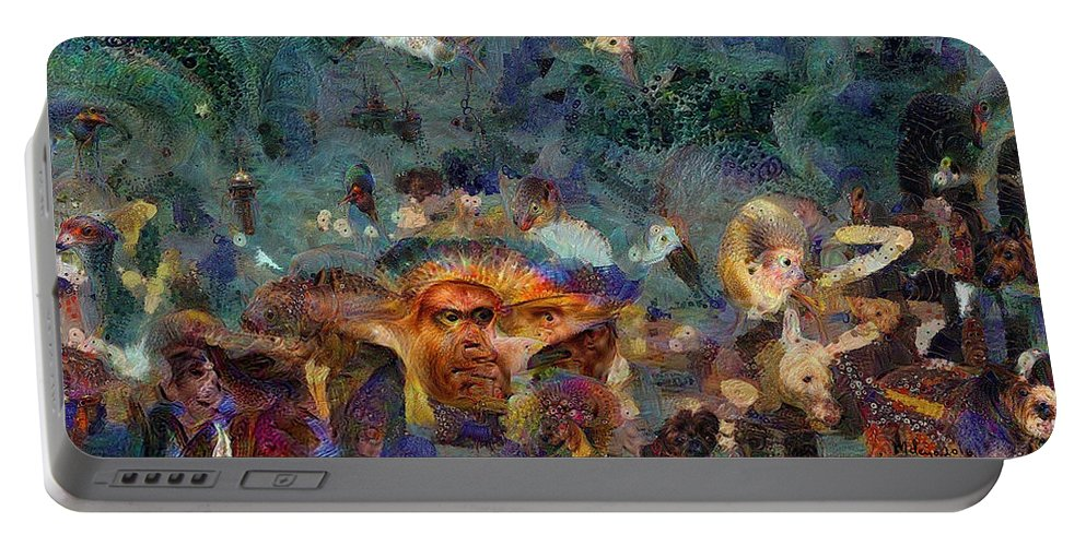 Colorful Portable Battery Charger featuring the digital art Artifact Chic No 61 by Mike Butler
