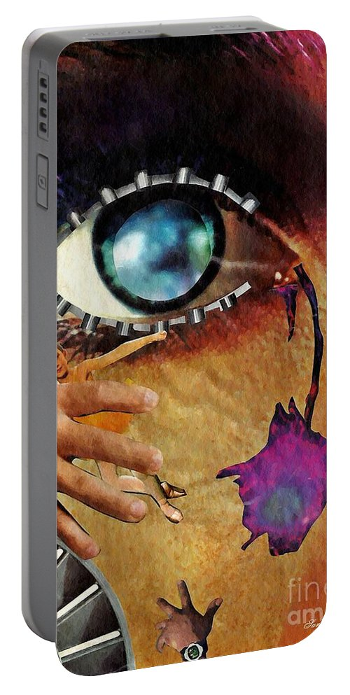 Tear Portable Battery Charger featuring the mixed media Artificial Tears by Sarah Loft