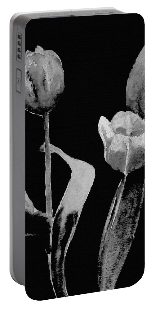 Black And White Art Portable Battery Charger featuring the mixed media Artsy Tulips by Kathleen Sartoris
