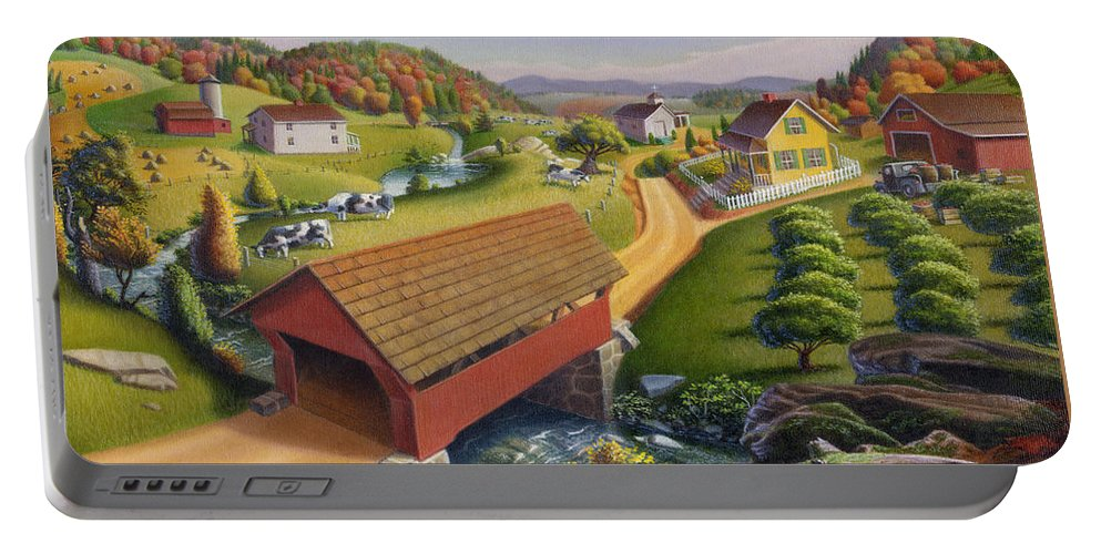Covered Bridge Portable Battery Charger featuring the painting Folk Art Covered Bridge Appalachian Country Farm Summer Landscape - Appalachia - Rural Americana by Walt Curlee