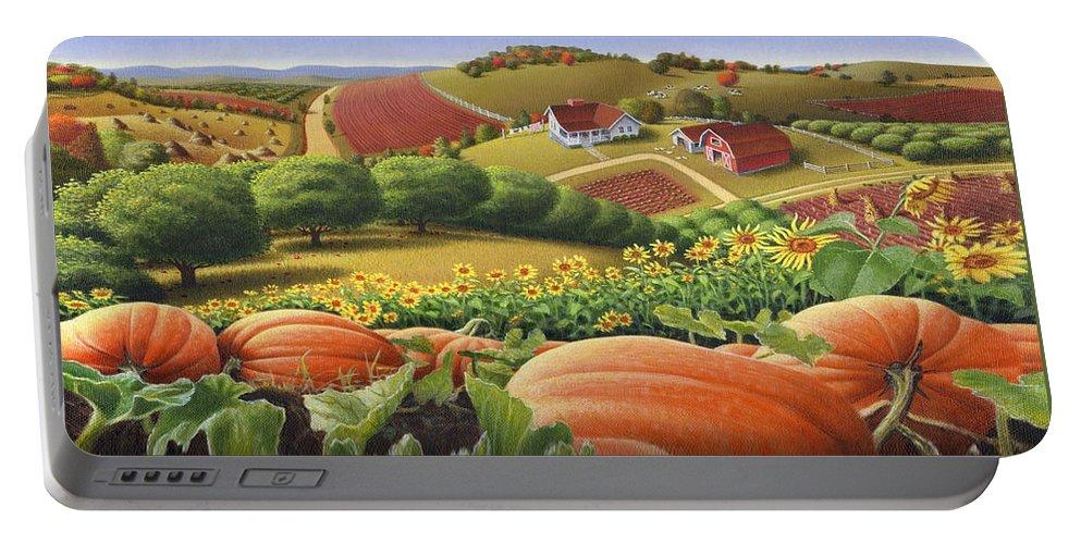 Pumpkin Portable Battery Charger featuring the painting Farm Landscape - Autumn Rural Country Pumpkins Folk Art - Appalachian Americana - Fall Pumpkin Patch by Walt Curlee