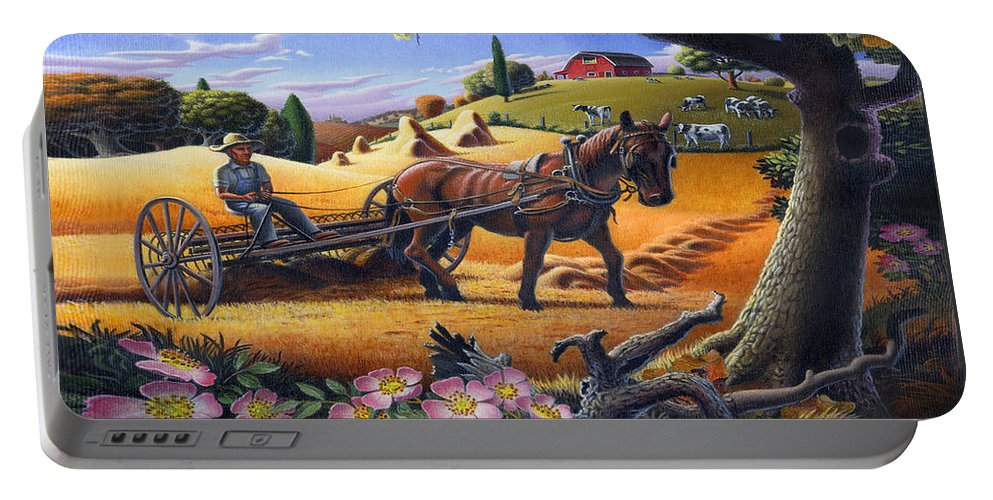 Raking Hay Portable Battery Charger featuring the painting Raking Hay Field Rustic Country Farm Folk Art Landscape by Walt Curlee