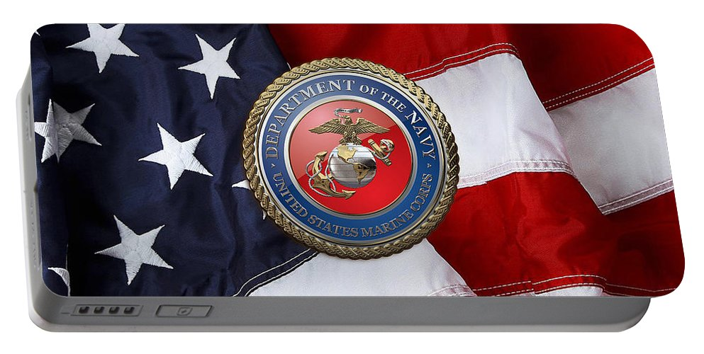 'military Insignia & Heraldry 3d' Collection By Serge Averbukh Portable Battery Charger featuring the digital art U. S. Marine Corps - U S M C Seal Over American Flag. by Serge Averbukh