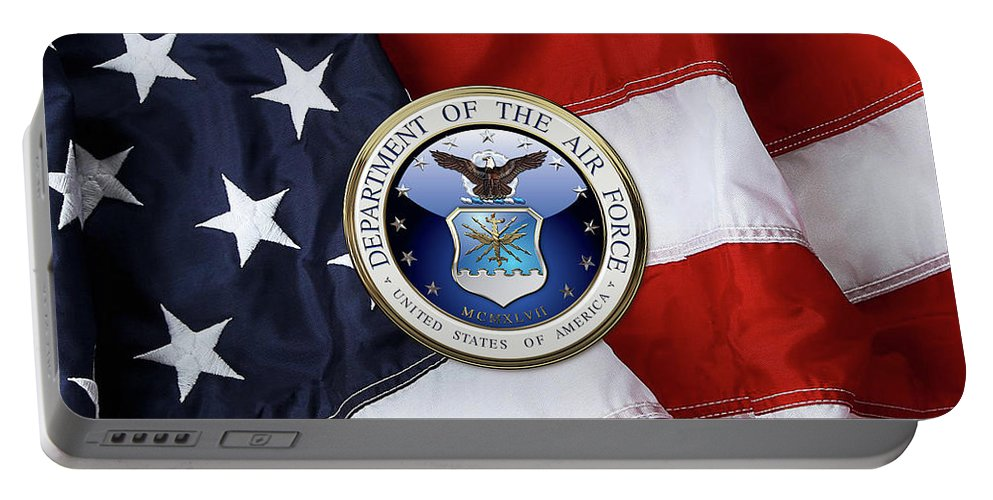 'military Insignia 3d' By Serge Averbukh Portable Battery Charger featuring the digital art U. S. Air Force - U S A F Emblem Over American Flag by Serge Averbukh
