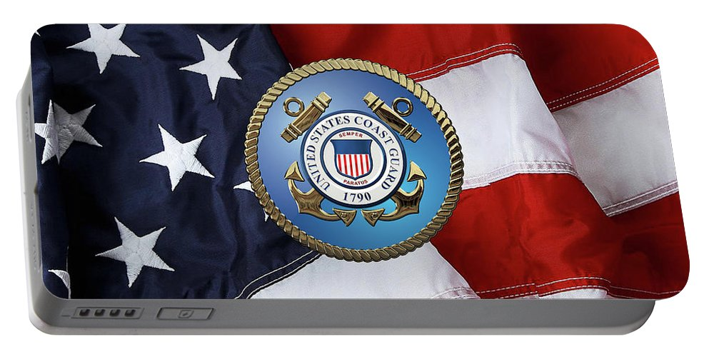 'military Insignia & Heraldry 3d' Collection By Serge Averbukh Portable Battery Charger featuring the digital art U. S. Coast Guard - U S C G Emblem Over American Flag by Serge Averbukh