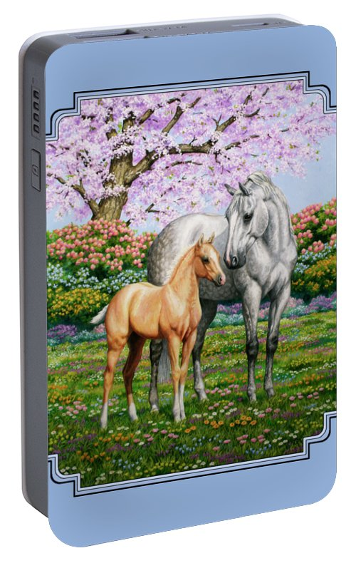 Horse Portable Battery Charger featuring the painting Spring's Gift - Mare And Foal by Crista Forest