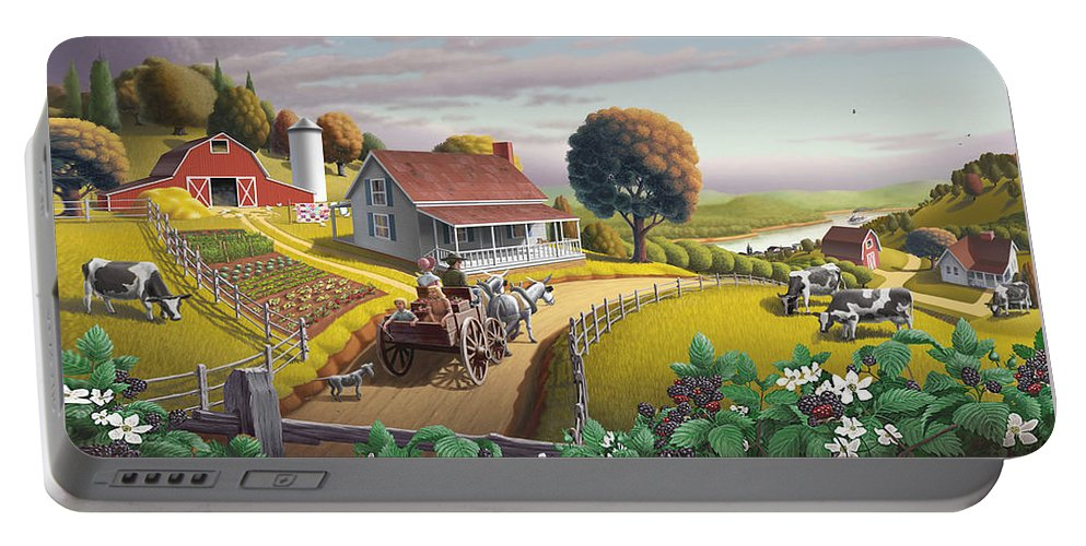 Farm Landscape Portable Battery Charger featuring the painting Appalachian Blackberry Patch Rustic Country Farm Folk Art Landscape - Rural Americana - Peaceful by Walt Curlee