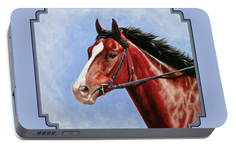 Horse Portable Battery Charger featuring the painting Horse Painting - Determination by Crista Forest