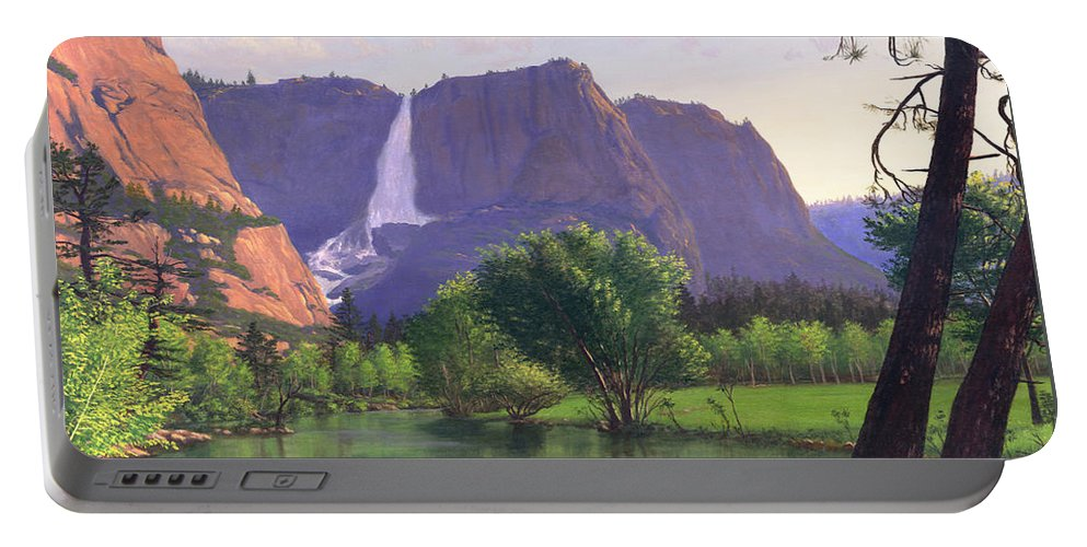 Waterfall Portable Battery Charger featuring the painting Mountains Waterfall Stream Western Mountain Landscape Oil Painting by Walt Curlee