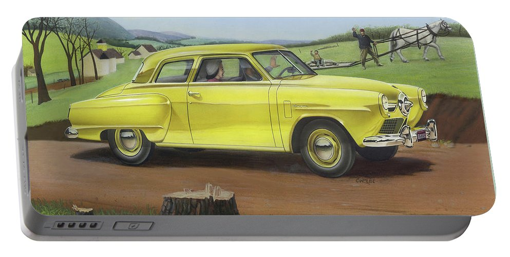 1950 Portable Battery Charger featuring the painting Studebaker Champion Antique Americana Nostagic Rustic Rural Farm Country Auto Car Painting by Walt Curlee