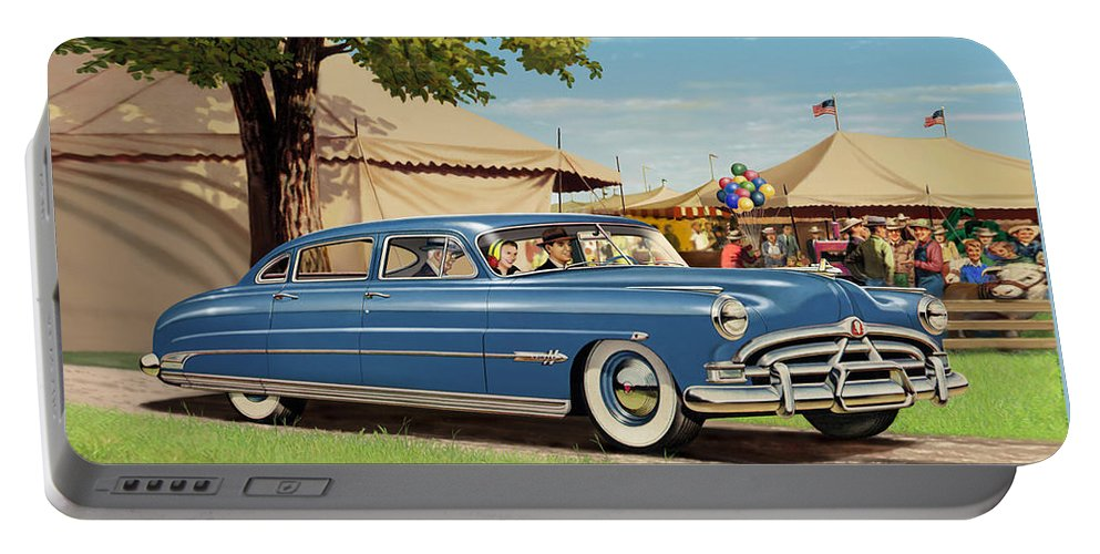 1951 Portable Battery Charger featuring the painting 1951 Hudson Hornet Fair Americana Antique Car Auto Nostalgic Rural Country Scene Landscape Painting by Walt Curlee