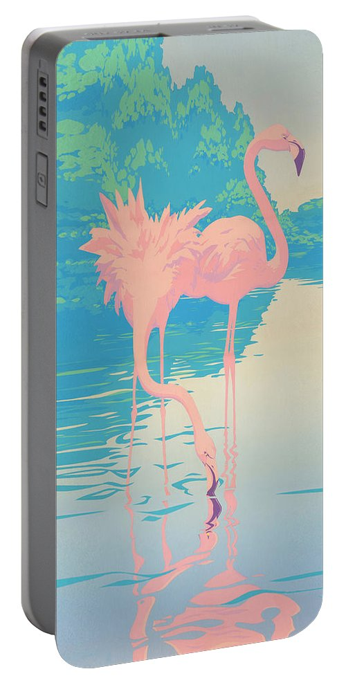 Flamingo Portable Battery Charger featuring the painting abstract Pink Flamingos retro pop art nouveau tropical bird 80s 1980s florida painting print by Walt Curlee