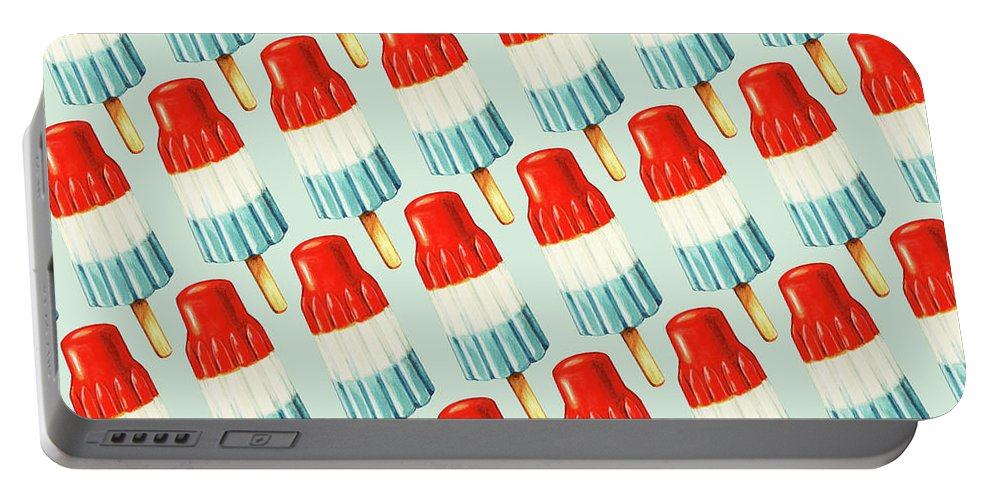 Popsicle Portable Battery Charger featuring the painting Bomb Pop Pattern by Kelly Gilleran