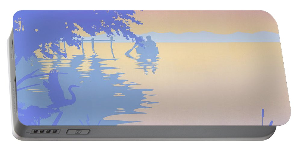 Abstract Portable Battery Charger featuring the painting abstract tropical boat Dock Sunset large pop art nouveau retro 1980s florida landscape seascape by Walt Curlee