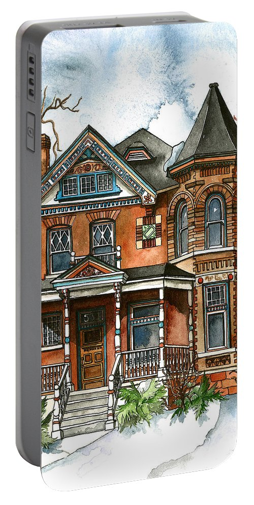 Victorian Portable Battery Charger featuring the painting Victorian Winter by Shelley Wallace Ylst