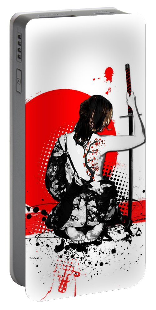 Samurai Portable Battery Charger featuring the digital art Trash Polka - Female Samurai by Nicklas Gustafsson