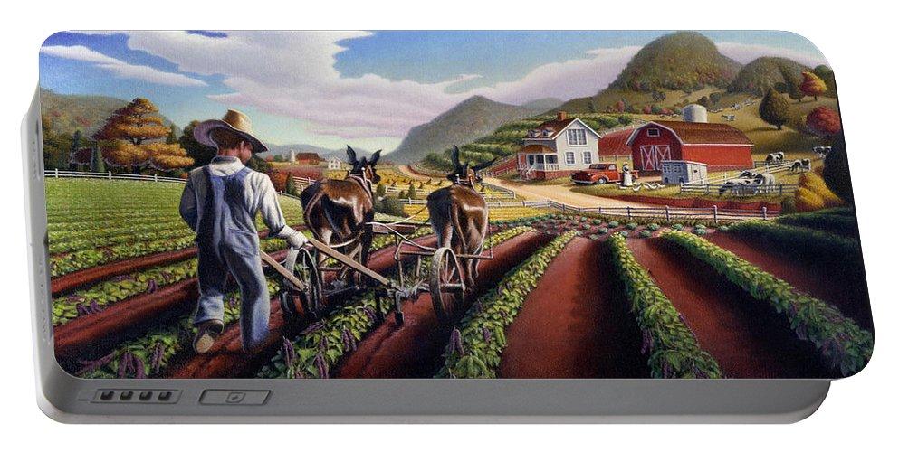 Appalachian Portable Battery Charger featuring the painting Appalachian Folk Art Summer Farmer Cultivating Peas Farm Farming Landscape Appalachia Americana by Walt Curlee