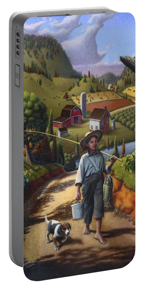 Boy And Dog Portable Battery Charger featuring the painting Boy And Dog Farm Landscape - Flashback - Childhood Memories - Americana - Painting - Walt Curlee by Walt Curlee