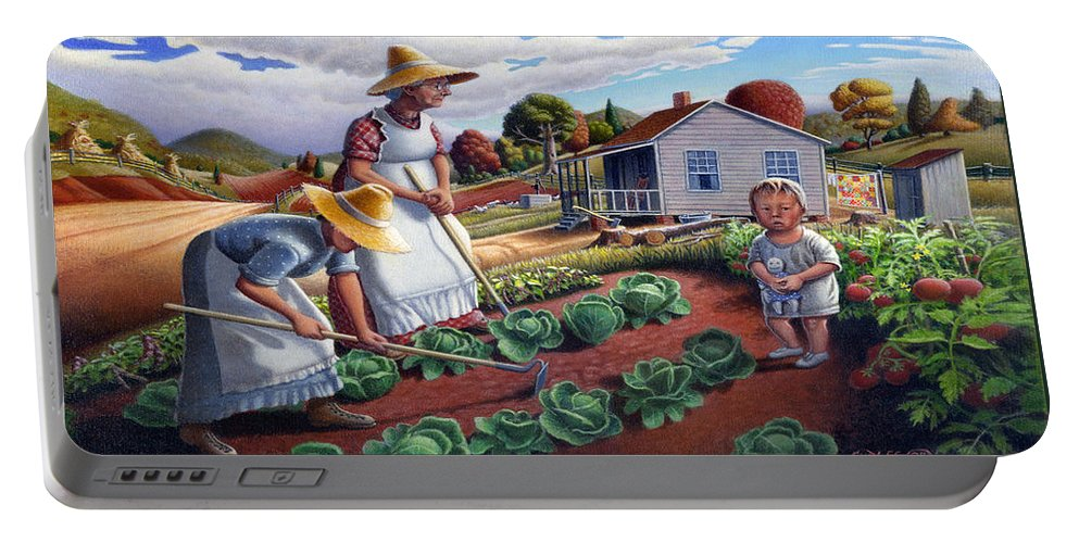 Farm Family Portable Battery Charger featuring the painting Family Vegetable Garden Farm Landscape - Gardening - Childhood Memories - Flashback - Homestead by Walt Curlee