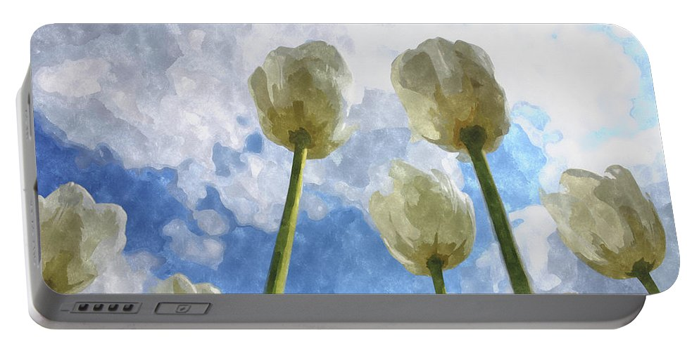 Tulips Portable Battery Charger featuring the digital art White Tulips And Cloudy Sky Digital Watercolor by Nesting Doll Art