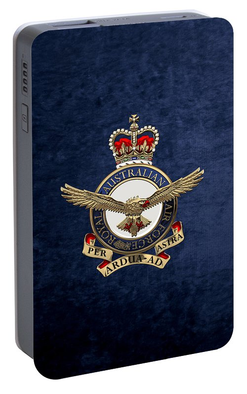 'australian Insignia & Heraldry' Collection By Serge Averbukh Portable Battery Charger featuring the digital art Royal Australian Air Force - R A A F Badge Over Blue Velvet by Serge Averbukh