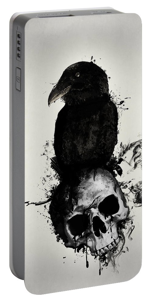 Raven Portable Battery Charger featuring the mixed media Raven And Skull by Nicklas Gustafsson
