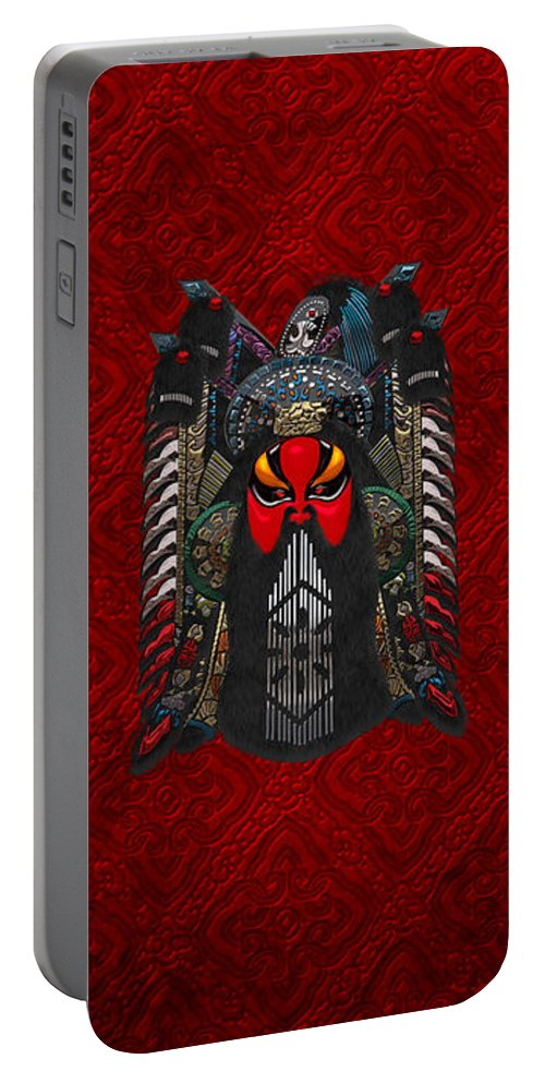 'treasures Of China' By Serge Averbukh Portable Battery Charger featuring the digital art Chinese Masks - Large Masks Series - The Red Face by Serge Averbukh