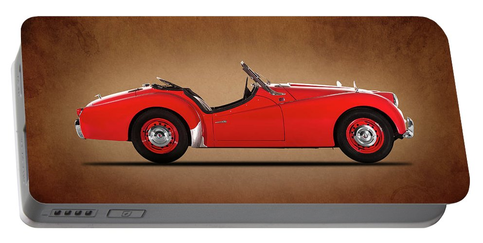 Triumph Tr3 Portable Battery Charger featuring the photograph Triumph Tr3a 1959 by Mark Rogan