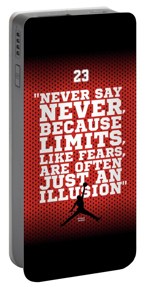 Gym Portable Battery Charger featuring the digital art Never Say Never Gym Motivational Quotes Poster by Lab No 4