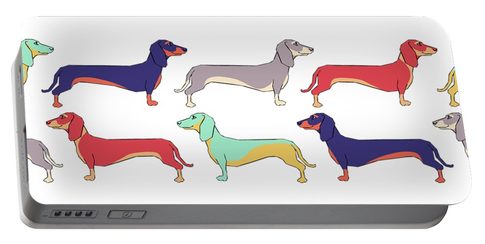 Dachshunds Portable Battery Charger featuring the digital art Dachshunds by Kelly King