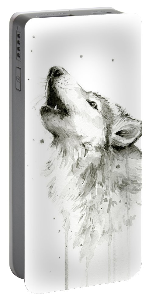 Watercolor Portable Battery Charger featuring the painting Howling Wolf Watercolor by Olga Shvartsur