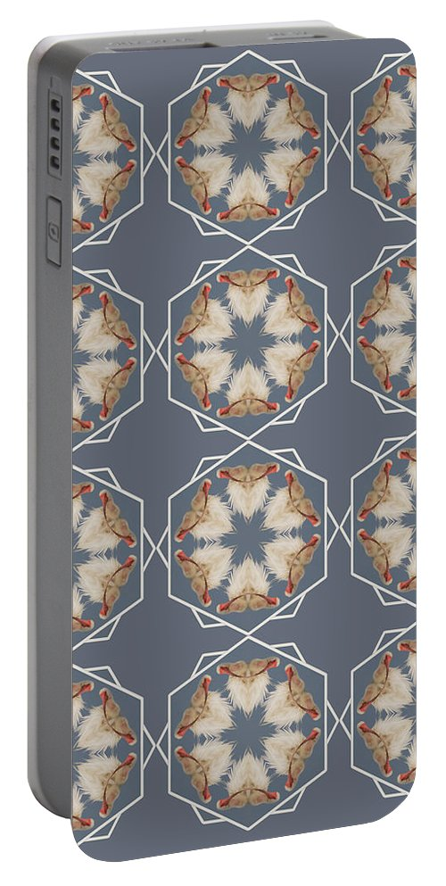 Kaleidoscope Portable Battery Charger featuring the photograph White Ibis Snowflake by Rhoda Gerig