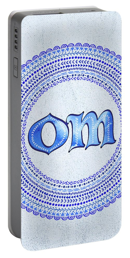 Om Portable Battery Charger featuring the painting Blue Om Mandala by Tammy Wetzel
