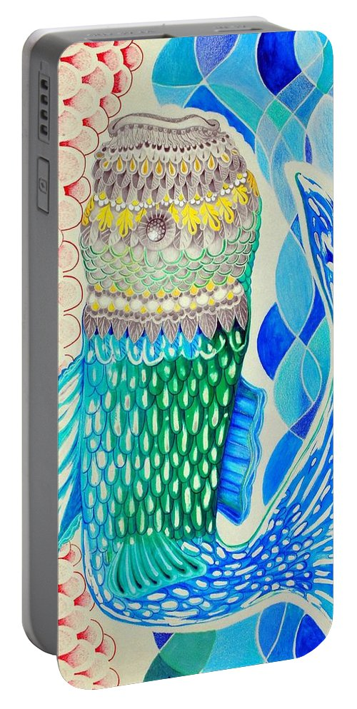 Red Portable Battery Charger featuring the painting Metamorphosis by Jose Luis Montes