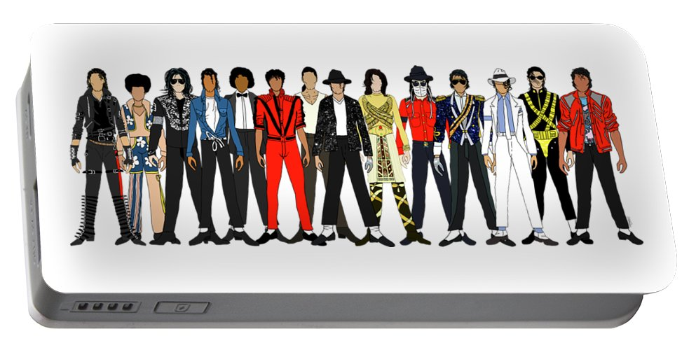 Michael Jackson Portable Battery Charger featuring the digital art Outfits of Michael Jackson by Notsniw Art