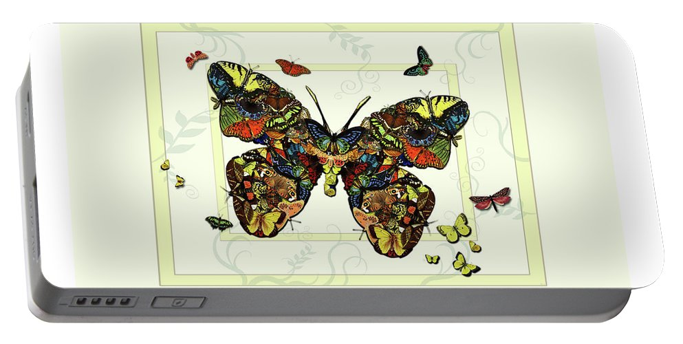 Botanical Portable Battery Charger featuring the painting Colorful Butterfly Collage by Deborah Smith